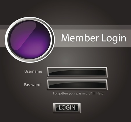 Login vector background with glossy buttons and 3D object Illustration