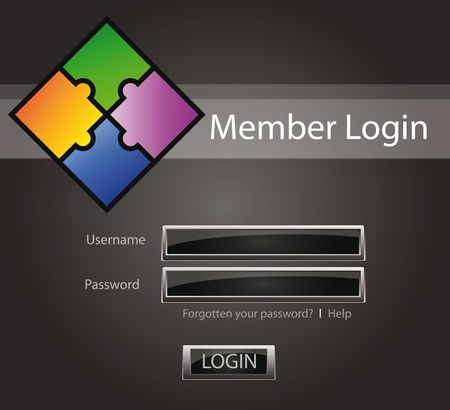 Login vector background with glossy buttons and puzzle Vector