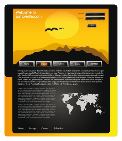 page layout: vector web site for company webdesign with africa header, world map and glossy buttons Illustration