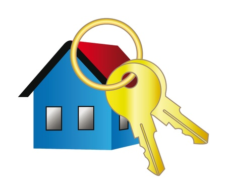 3d vector home icon with key for your web site design isolation over white background
