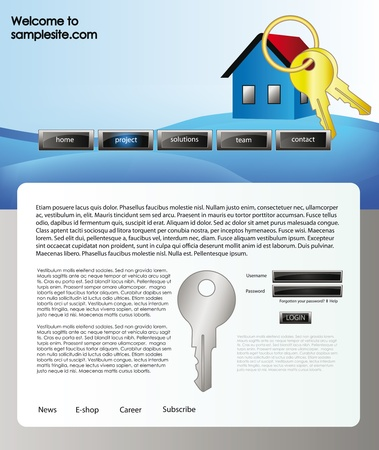 vector web site for company webdesign with white background, blue wave header, house icon and key Stock Vector - 11259266