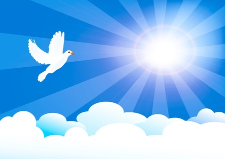 vector illustration of heaven with sun and clouds and little dove Illustration