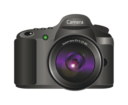 photo equipment: realistic vector 3d illustration of camera isolated over white background Illustration