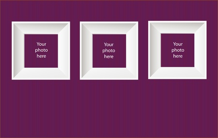 Vector illustration of photo frames on purple wall Vector