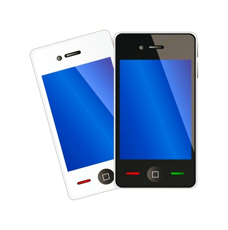 Two vector mobile phones with blue display in white and black color isolation over white background