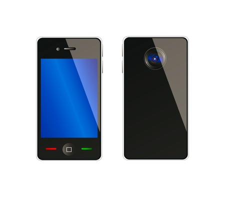 Vector mobile phone from front and back side with nice camera; isolation over white background
