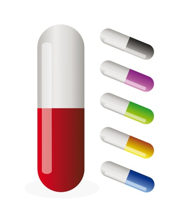 Set of colorfull vector pills isolation over white background Illustration