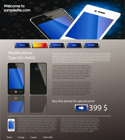 vector web site for company webdesign with mobile phone e-shop Vector