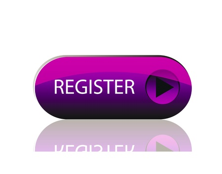 register: vector glossy button isolaton over white background with reflection