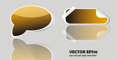 vector glossy button isolaton over white background with reflection Vector