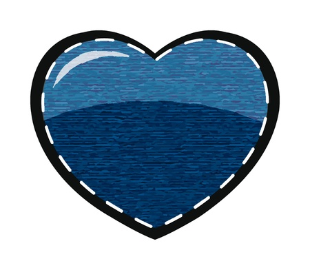 vector valentine heart with blue jeans background Vector