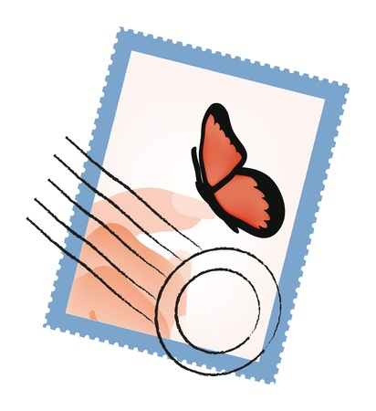 isolation: Vector stamp with hand and butterfly isolation over white background