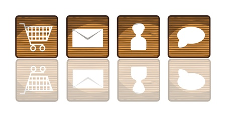 Wooden icons or buttons with reflection Vector