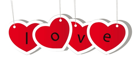 vector red valentine heart isolation over white background Vector