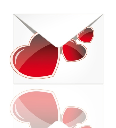 Vector envelope for valentine´s day with red hearts and glossy elements isolated over white background Stock Vector - 11651126