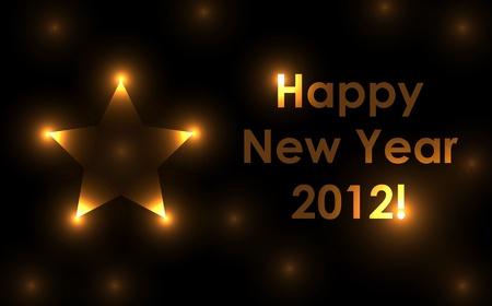 mooie achtergrond: Golden vector symbool voor het nieuwe jaar 2012 met reflectie en mooie achtergrond