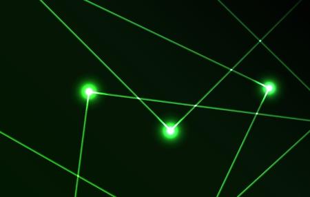 Mooi vector laserlicht in groene kleur en de donkere achtergrond