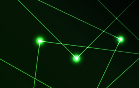 beams: Nice vector laser light in green color and dark background Illustration