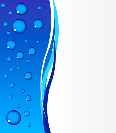 Beautiful blue water background with clean drops