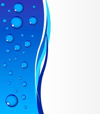 Hermoso fondo azul del agua con gotas limpias Ilustración de vector
