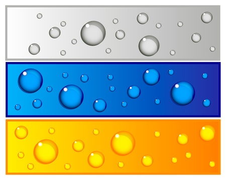 dewy: Beautiful set of colorful banners with water drops in blue, silver and yellow color Illustration