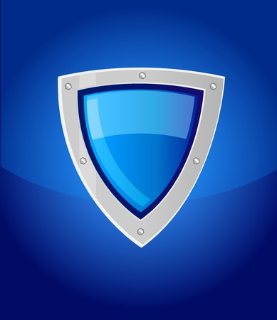 silver frame: blue security shield with reflection and silver frame Illustration
