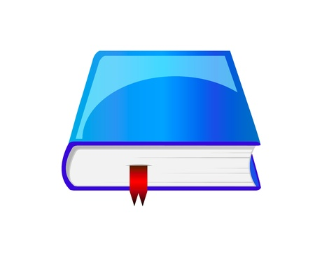 Beautiful blue book with red bookmark isolation over white background Vector