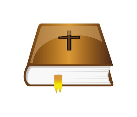 brown bible with golden bookmark isolated over white background, book icon Vector