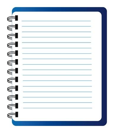 blue notepad isolated over white background