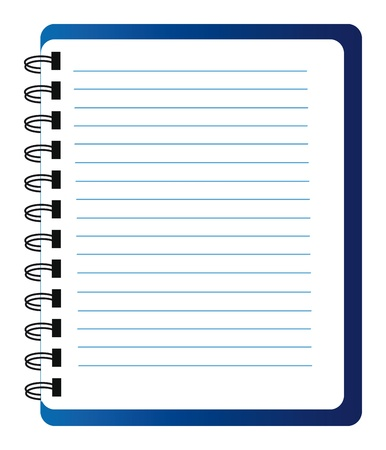 open diary: blue notepad isolated over white background