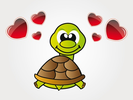 turtles love: illustration of happy little turtle in love