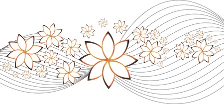 background with flowers and waves isolation over white Vector