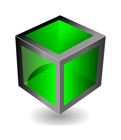 creative green cube with reflection looks like glass  Isolation over white background Stock Vector - 14103298