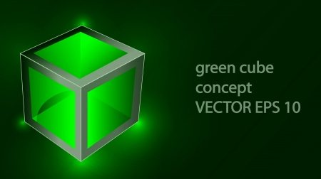 technology symbols metaphors: Vector creative green cube with reflection looks like glass and laser lights