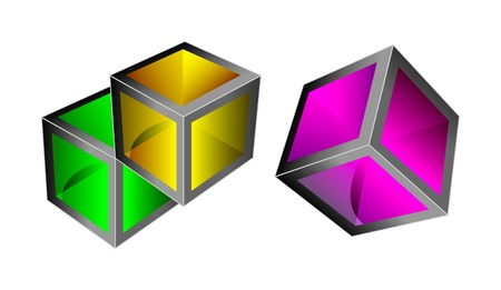 3d colorful glass cubes with reflection. Isolation over white background. Vector