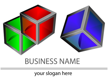 technology symbols metaphors:  creative logo with 3d colorful cubes for modern design. Isolation over white background.