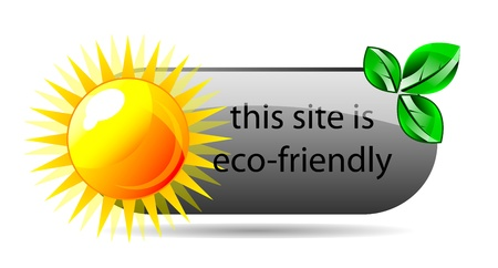 eco friendly website icon with green leaf and reflection. Isolation over white background. Vector