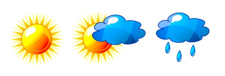 partly: Abstract shiny sun and cloud icons with reflection. Isolation over white background. Illustration