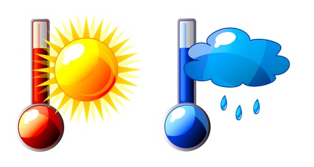 calibrated: icon of thermometer with sun and cloud. Isolation over white background.