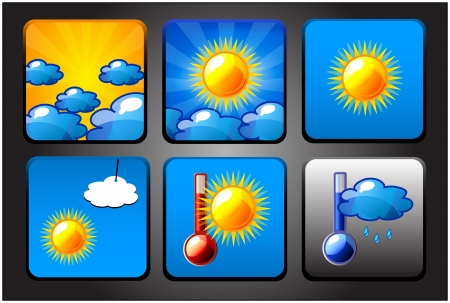 Vector background for app icons. Weather set or collection. Vector