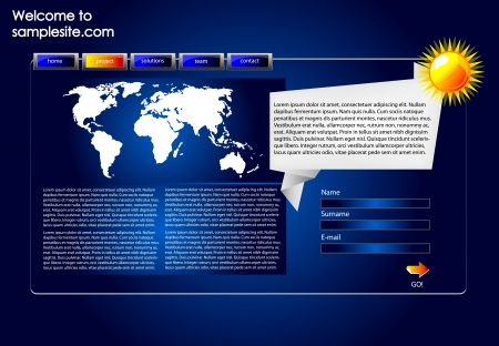 web site design template with blue background, glossy buttons, icons and map of the world. Vector