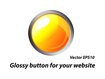 modern glossy yellow button with reflection for web design  Isolation over white background  Vector
