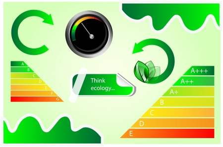 Vector icons with energy and eco motives  Energy chart, tachometer, banner  Vector