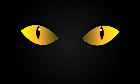 Vector cats eyes in dark night. Isolation. Çizim
