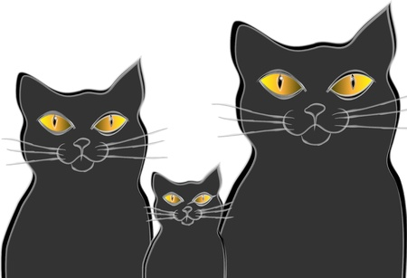 Tree cats. Cats family. Isolation over white background. Illustration