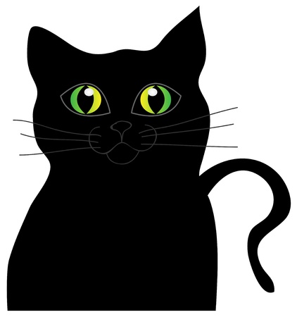 Abstract vector black cat with green eyes. Isolation over white background. Vector