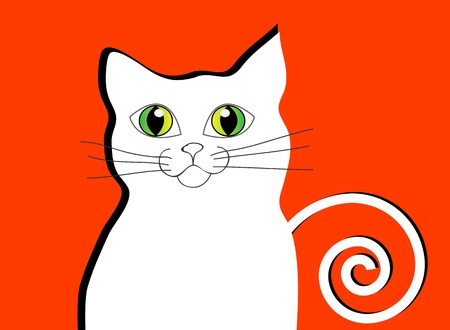 Vector abstract white cat. Isolation over red background. Illustration