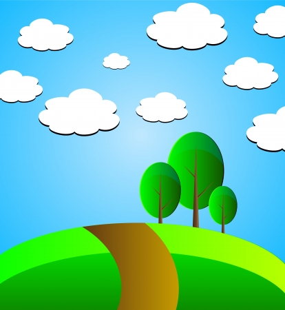 Vector landscape with blue sky, clouds, trees, fields and path. Vector