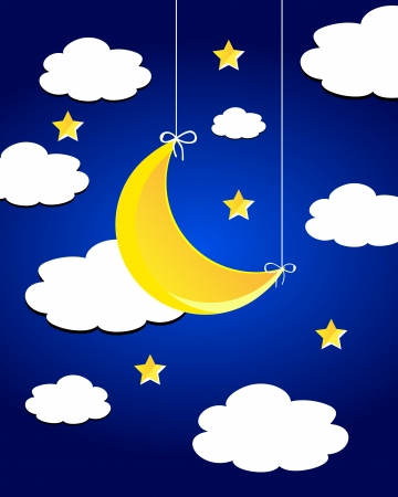 Vector night sky with moon, stars and clouds. Vector