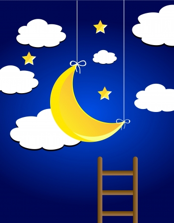 Vector night sky with moon, clouds, star and ledder Vector